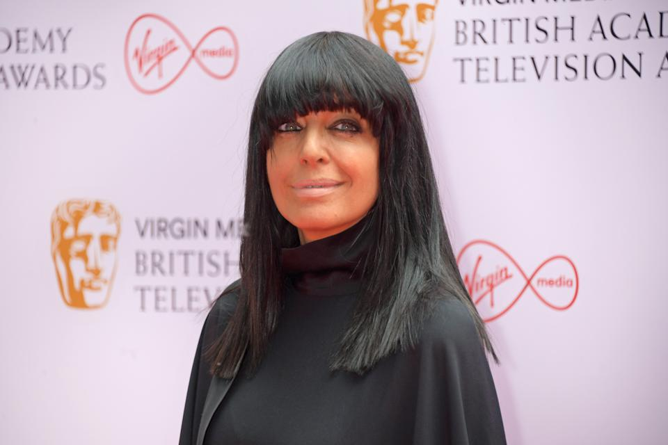 Claudia Winkleman - shown here at the 2021 BAFTAs - completed her chic Strictly look with £12 leggings. (Getty)