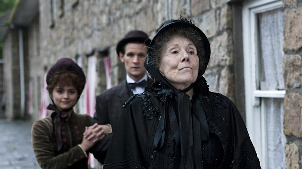 Diana Rigg with Jenna Coleman and Matt Smith in 'Doctor Who' episode 'The Crimson Horror'. (Credit: BBC)