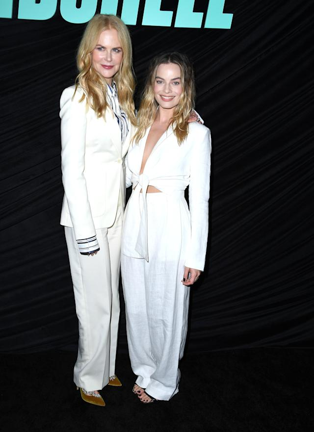"""WEST HOLLYWOOD, CALIFORNIA - OCTOBER 13: Nicole Kidman and Margot Robbie poses at the Special Screening Of Lionsgates' """"Bombshell"""" at Pacific Design Center on October 13, 2019 in West Hollywood, California. (Photo by Steve Granitz/WireImage)"""