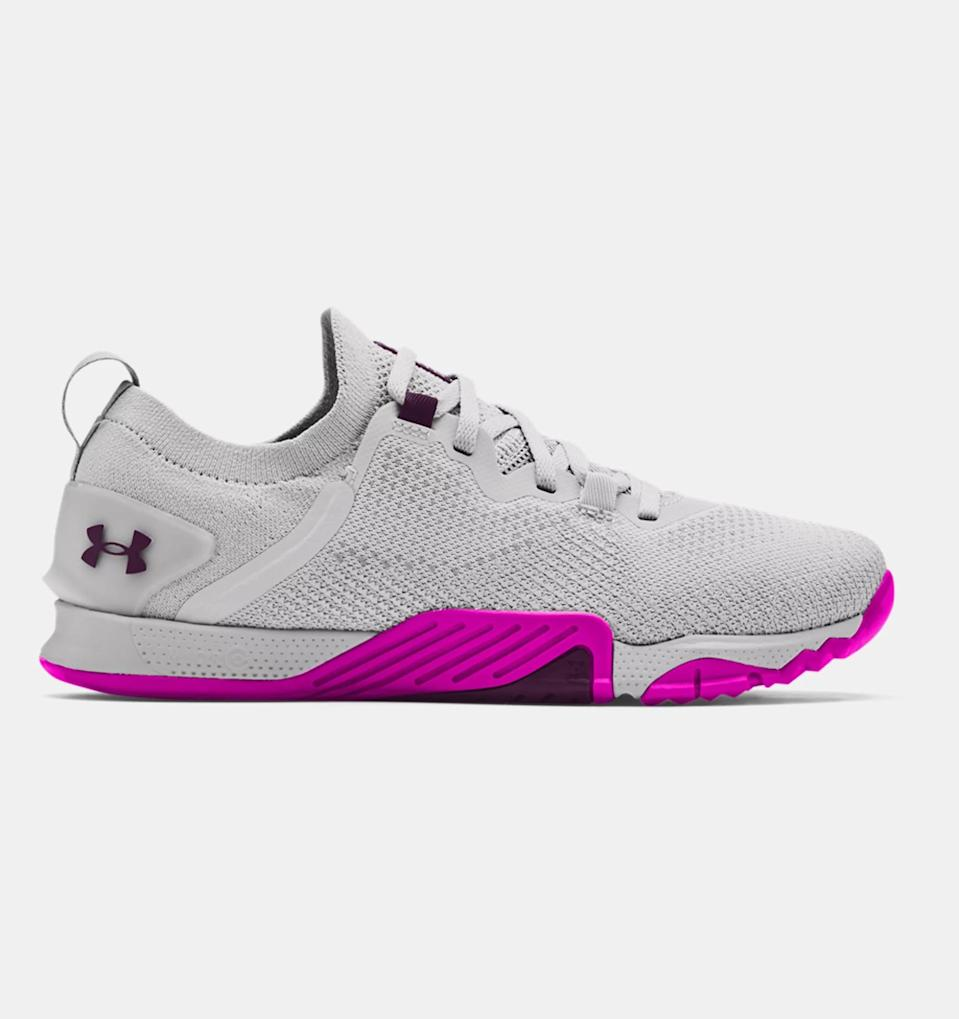 <p>No matter how many sumo squats you have left, these <span>UA TriBase Reign 3 Training Shoes</span> ($120) are guaranteed to get you through it. Engineered to be flexible at the forefoot and literally built for headstand pushups, these shoes maximize mobility, making them ideal for fast-paced, strength-focused workouts like CrossFit or Orangetheory.</p>