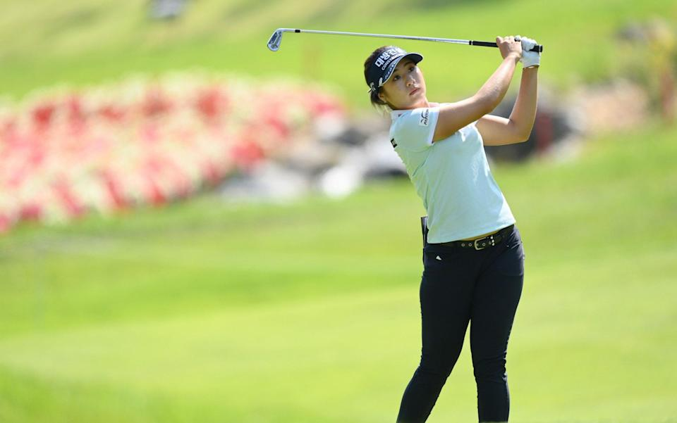 Jeongeun Lee6 of South Korea plays a shot on the 4th hole during day two of the The Amundi Evian Championship at Evian Resort Golf Club on July 23, 2021 in Evian-les-Bains, France - Jeongeun Lee6 makes history at Evian Championship by equalling the lowest round ever shot at a major - GETTY IMAGES