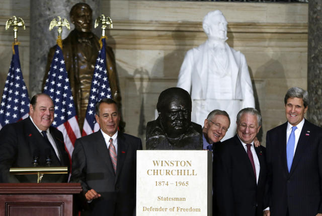 The sculpture was given to former President George W. Bush, who displayed it in the Oval Office.