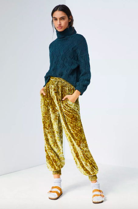 Gloria Velvet Joggers. Image via Anthropologie.