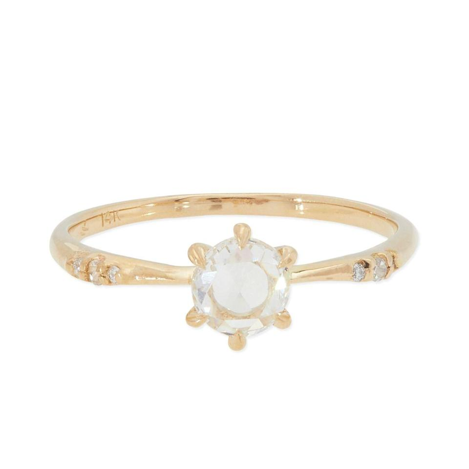 """More prongs can mean a more secure setting, but she explains that the shift toward six prongs is more about personal preference and overall design than support. $2780, Catbird. <a href=""""https://www.catbirdnyc.com/ilona-ring-white-diamond-2031.html"""" rel=""""nofollow noopener"""" target=""""_blank"""" data-ylk=""""slk:Get it now!"""" class=""""link rapid-noclick-resp"""">Get it now!</a>"""