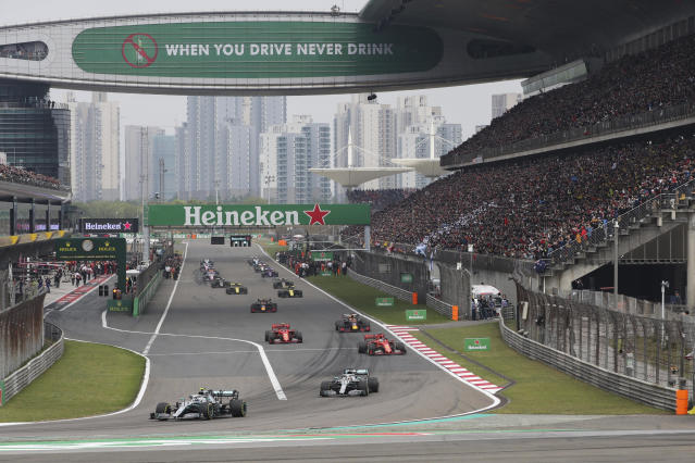 The 2020 Chinese Grand Prix won't be run as scheduled because of the coronavirus outbreak. (AP Photo/Ng Han Guan, File)