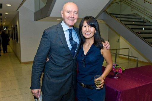 """Irvine Welsh, author of """"Trainspotting"""", and novelist Nami Mun at University of Illinois on October 17, 2012 in Chicago"""