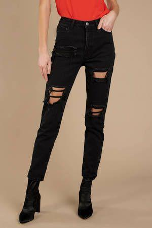 """<p>tobi.com</p><p><strong>$35.00</strong></p><p><a href=""""https://www.tobi.com/product/72138-tobi-agoura-distressed-high-rise-girlfriend-jean?color_id=103449"""" rel=""""nofollow noopener"""" target=""""_blank"""" data-ylk=""""slk:Shop Now"""" class=""""link rapid-noclick-resp"""">Shop Now</a></p><p>A pair of distressed black jeans like these go really well with a sexy top for a night out when all you really want is to feel comfy while looking super hot. These look great with some heels and the hem folded up to show off a bit of ankle, too.</p>"""