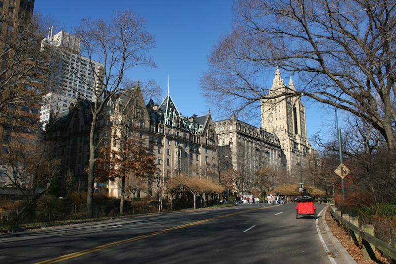 View from Central Park of the Dakota, the Langham and the San Remo apartment buildings at Central Park West, in the Upper West Side of Manhattan, New York City