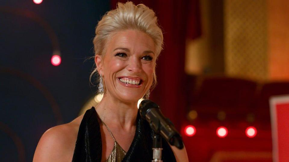 """Hannah Waddingham took home an Emmy Award Sunday night for her role in """"Ted Lasso,"""" the Apple TV+ comedy in which she plays the owner of a British soccer team, just one of many Emmys won by the show."""