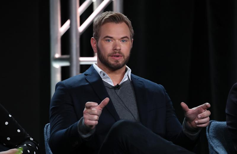 "PASADENA, CALIFORNIA - JANUARY 12: Kellan Lutz of ""FBI: The Most Wanted"" speaks during the CBS segment of the 2020 Winter TCA Press Tour at The Langham Huntington, Pasadena on January 12, 2020 in Pasadena, California. (Photo by David Livingston/Getty Images)"