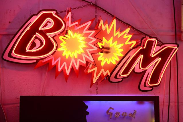 <p>A neon sign that reads 'BOOM forms part of an artwork exhibited in God's Own Junkyard gallery and cafe in London, Britain, May 13, 2017. (Photo: Russell Boyce/Reuters) </p>