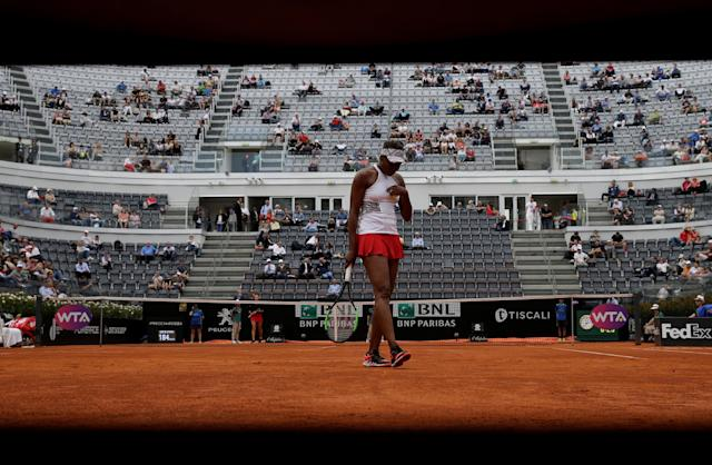 Tennis - WTA Premier 5 - Italian Open - Foro Italico, Rome, Italy - May 17, 2018 Venus Williams of the U.S. during her third round match against Estonia's Anett Kontaveit REUTERS/Max Rossi