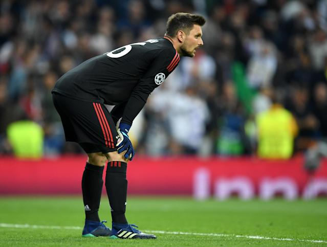 Bayern Munich goalkeeper Sven Ulreich reacts after his error led to Real Madrid's second goal of their Champions League semifinal second leg. (Getty)