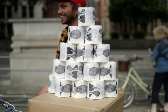 A stack of Donald Trump toilet paper on a London street. (Photo: Matt Dunham/AP)