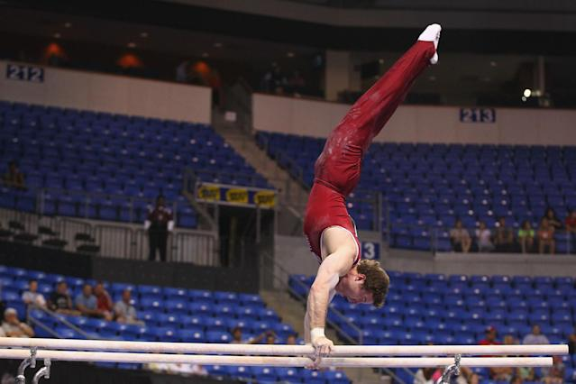 ST. LOUIS, MO - JUNE 7: Ryan Lieberman competes in the parallel bars exercise during the Senior Men's competition on day one of the Visa Championships at Chaifetz Arena on June 7, 2012 in St. Louis, Missouri. (Photo by Dilip Vishwanat/Getty Images)