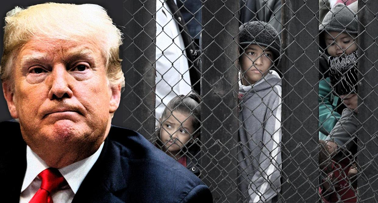 Donald Trump; migrants waiting to request asylum request at the U.S.- Mexico border. (Photo illustration: Yahoo News; photos: AP, Lucy Nicholson/Reuters)