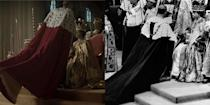 """<p>For Prince Philip's coronation robe, the show continued to stay true to reality. Matt Smith donned a heavy red velvet and fur-trimmed robe, and the director captured the same angle that was shot in the real life footage. </p><p><strong>RELATED</strong>: <a href=""""https://www.goodhousekeeping.com/life/a34747861/the-crown-prince-philip-fact-check/"""" rel=""""nofollow noopener"""" target=""""_blank"""" data-ylk=""""slk:Fact-Checking Prince Philip's Portrayal on 'The Crown'"""" class=""""link rapid-noclick-resp"""">Fact-Checking Prince Philip's Portrayal on 'The Crown'</a></p>"""