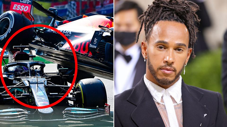 Lewis Hamilton is pictured at the Met Gala in New York after his Italian GP crash.