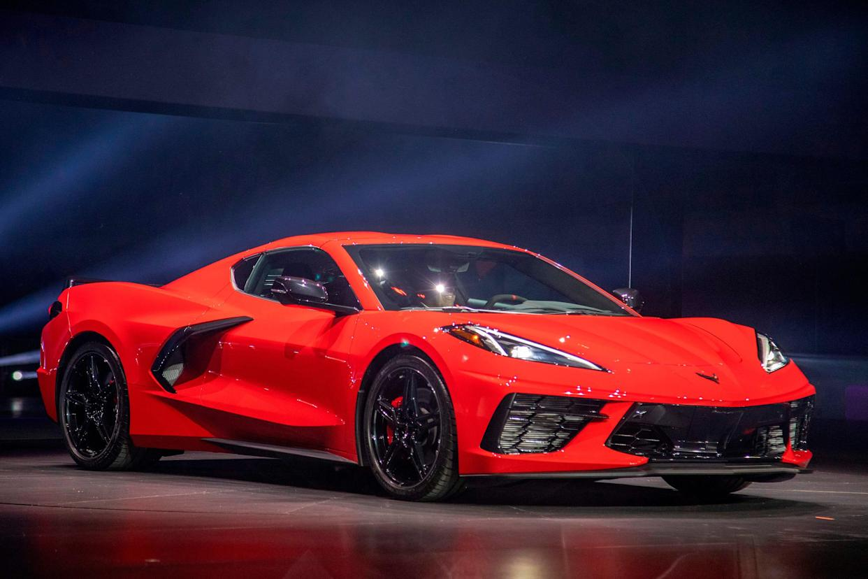 The new mid-engine 2020 Corvette Stingray is seen at the Next Generation Corvette Reveal event in Irvine, California on July 18, 2019.