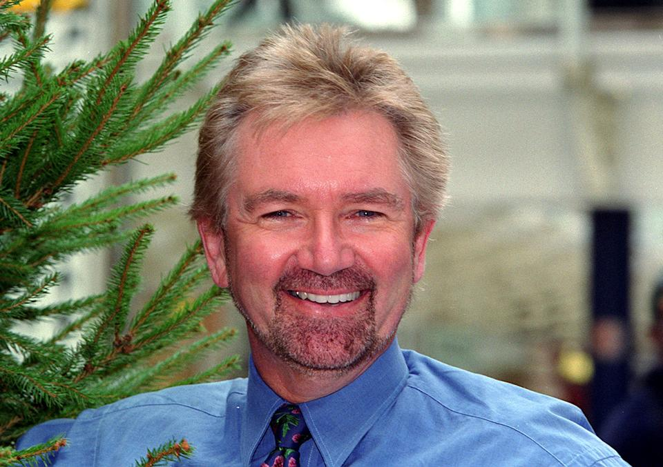 TV presenter Noel Edmonds in London, for the launch of an appeal for the charity Help the Hospices, with the aim of raising over  1 million for the Hospice movement by having 'A Forest of Lights' on christmas trees throughout the country.   (Photo by PA Images via Getty Images)