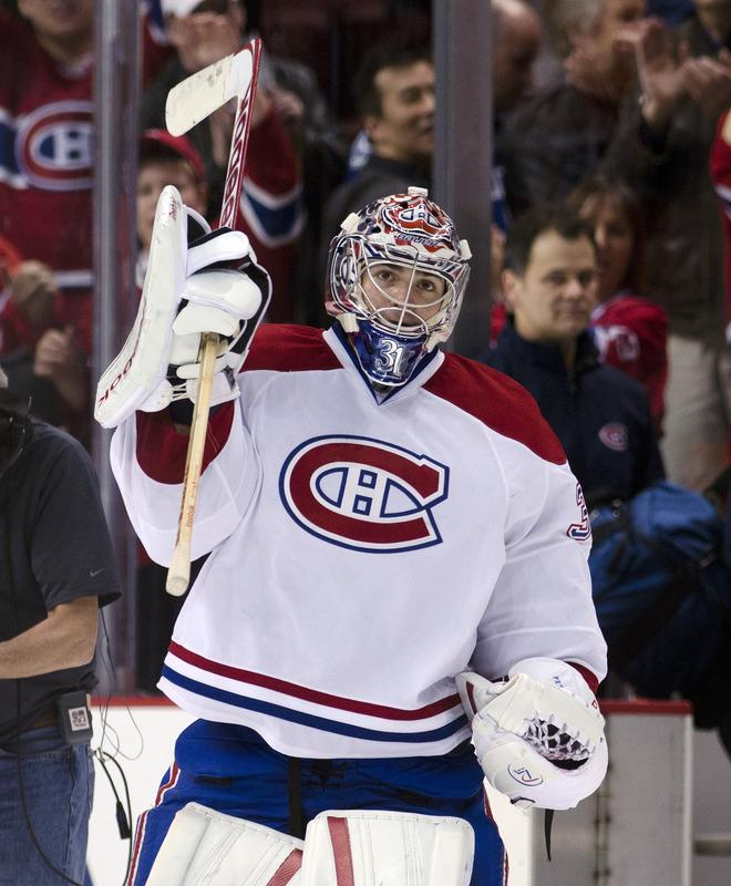 VANCOUVER, CANADA - MARCH 10: Goalie Carey Price #31 of the Montreal Canadiens salutes the crowd after defeating the Vancouver Canucks 4-1 and being named the game's first start in NHL action on March 10, 2012 at Rogers Arena in Vancouver, British Columbia, Canada.  (Photo by Rich Lam/Getty Images)