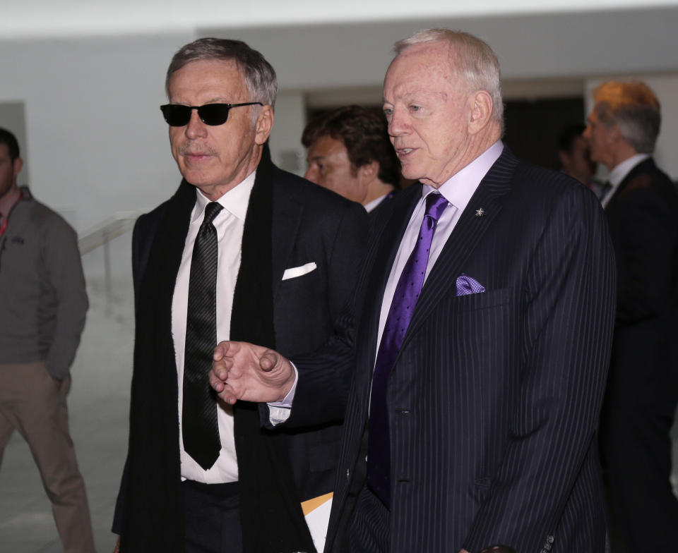 NFL owners including Stan Kroenke of the Los Angeles Rams, left, and Jerry Jones of the Dallas Cowboys will discuss issues like preseason and player safety on Monday. (AP Photo/Seth Wenig)
