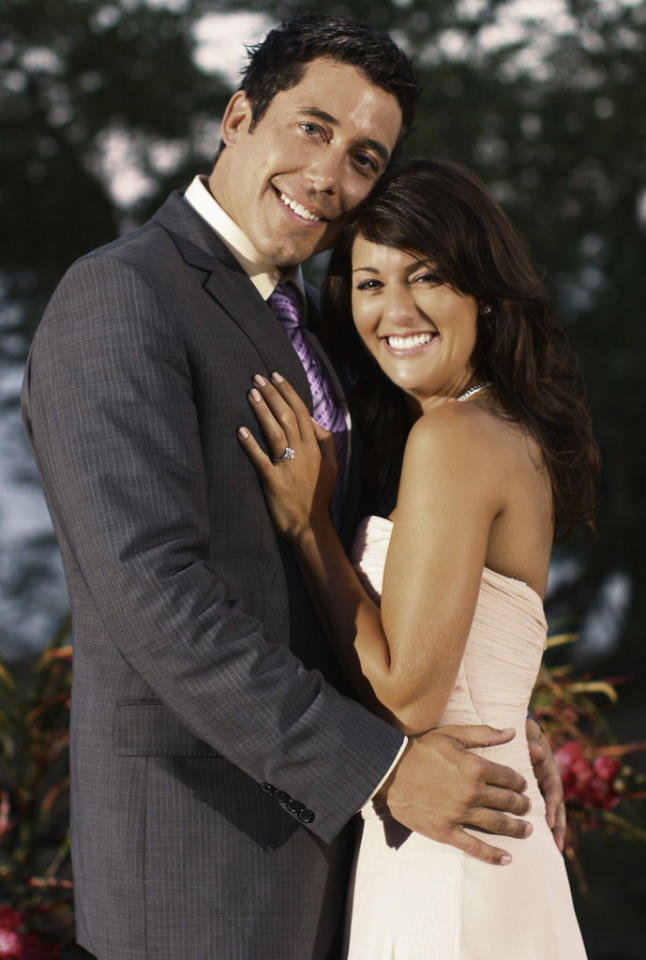 "<b>Season 5</b><b>, ""The Bachelorette""</b><b><br>   Jillian Harris and Ed Swiderski</b><br><br>BROKE UP one year after the finale aired."