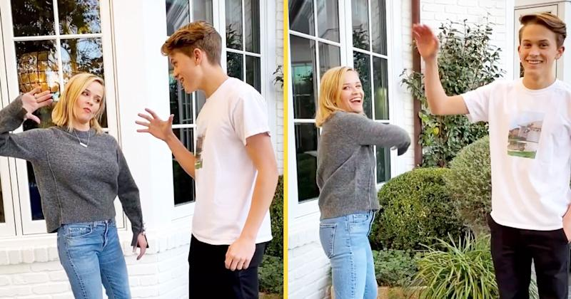 Reese Witherspoon Gets Schooled By Her Teen Son On Hip Handshake