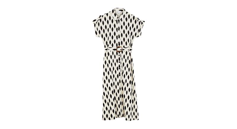 Warehouse Ikat Abstract Print Belted Midi Dress