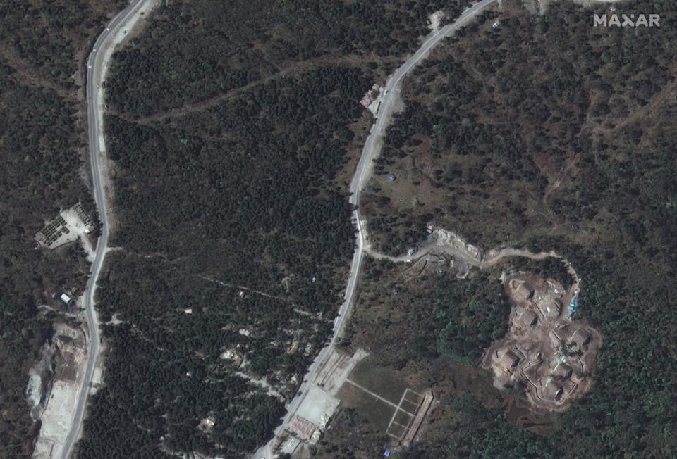 Satellite images appear to show so-called military storage bunkers.