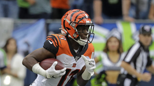 Cincinnati Bengals wide receiver John Ross runs against the Seattle Seahawks during the first half of an NFL football game, Sunday, Sept. 8, 2019, in Seattle. (AP Photo/John Froschauer)