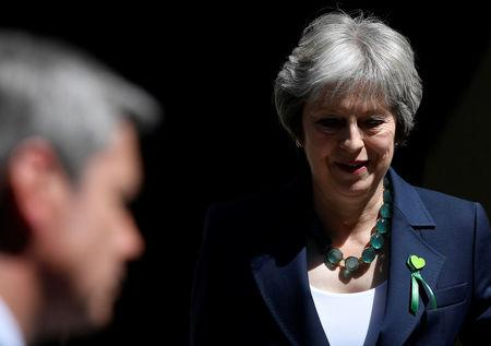 Britain's Prime Minister May leaves Downing Street for the Houses of Parliament in London