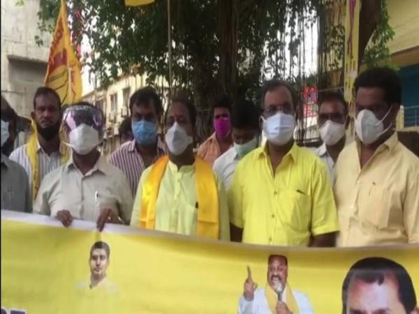 TDP leaders protesting against tax hike (Photo/ANI)