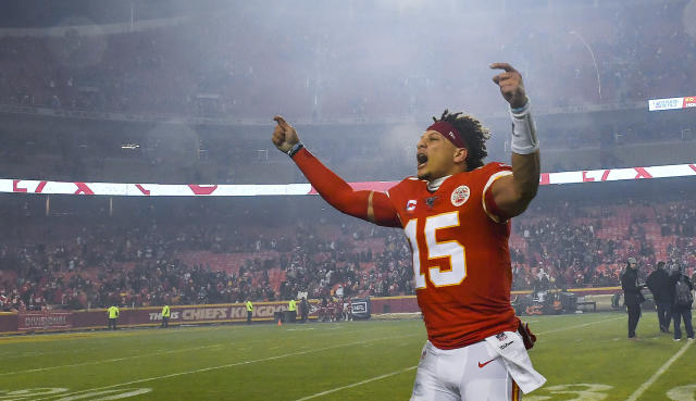 "<a class=""link rapid-noclick-resp"" href=""/nfl/players/30123/"" data-ylk=""slk:Patrick Mahomes"">Patrick Mahomes</a> is loving life. (Rich Sugg/Kansas City Star/Tribune News Service via Getty Images)"