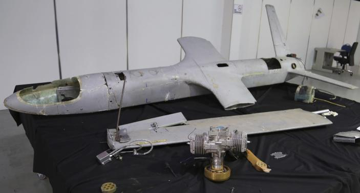 FILE - This undated file photo obtained by The Associated Press, shows a UAV-X drone flown by Yemen's Houthi rebels that is displayed in Hodeida, Yemen. The assault on the beating heart of Saudi Arabia's vast oil empire follows a new and dangerous pattern that's emerged across the Persian Gulf this summer of precise attacks that leave few obvious clues of who launched them. (AP Photo, File)