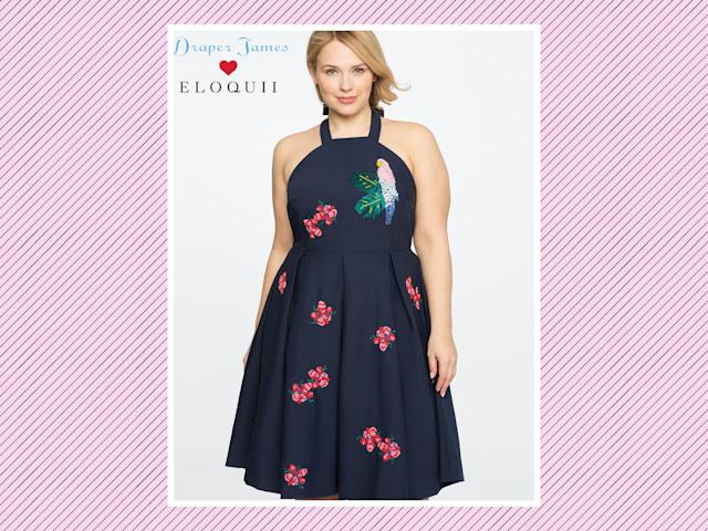 "<p>Draper James for Eloquii parrot-embellished dress, $225, <a href=""http://www.eloquii.com/draper-james-for-eloquii-parrot-embellished-dress/1226048.html?cgid=draper-james&dwvar_1226048_colorCode=49&start=6"" rel=""nofollow noopener"" target=""_blank"" data-ylk=""slk:Eloquii"" class=""link rapid-noclick-resp"">Eloquii</a> (Photo: Eloquii) </p>"