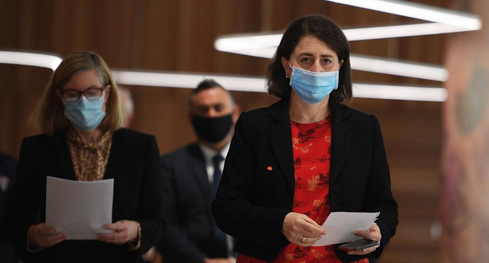 Premier Gladys Berejiklian and NSW Chief Health Officer Dr Kerry Chant during a COVID-19 update in Sydney, Monday, August 30, 2021. Source: AAP