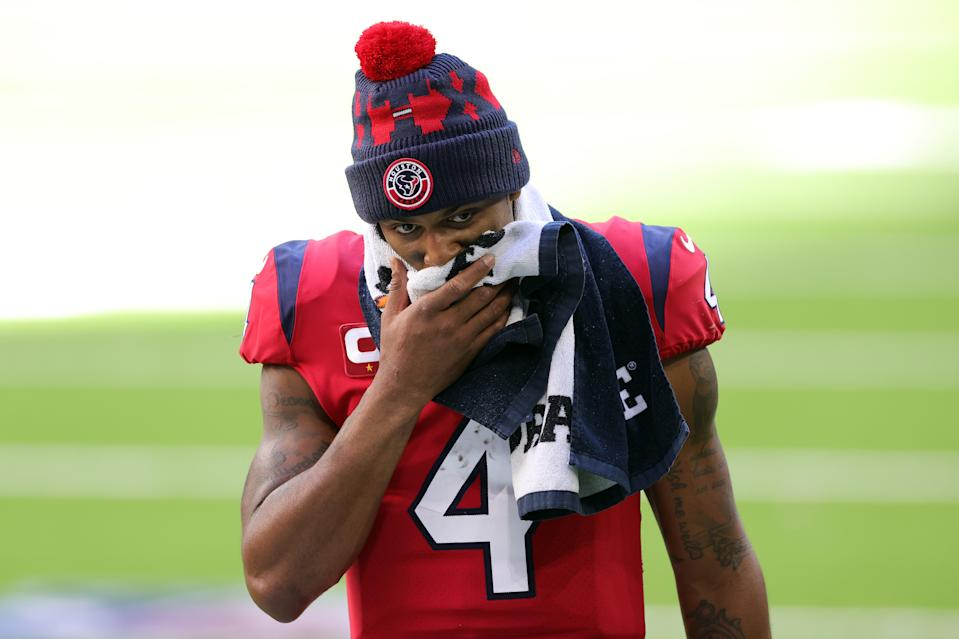There are now 19 civil suits filed against Texans quarterback Deshaun Watson, the latest of which alleges he elted Instagram messages and reached out to masseuses for settlements. (Photo by Carmen Mandato/Getty Images)