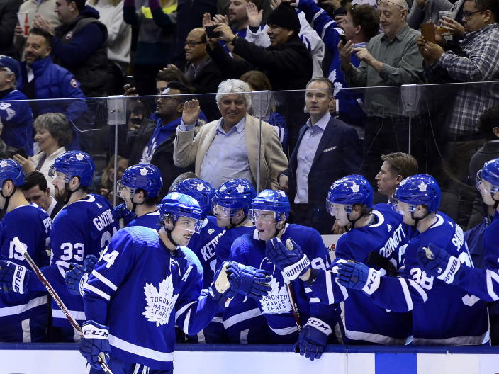 Toronto Maple Leafs center Auston Matthews (34) is congratulated for his goal against the New Jersey Devils during the third period of an NHL hockey game Tuesday, Jan. 14, 2020, in Toronto. (Frank Gunn/The Canadian Press via AP)