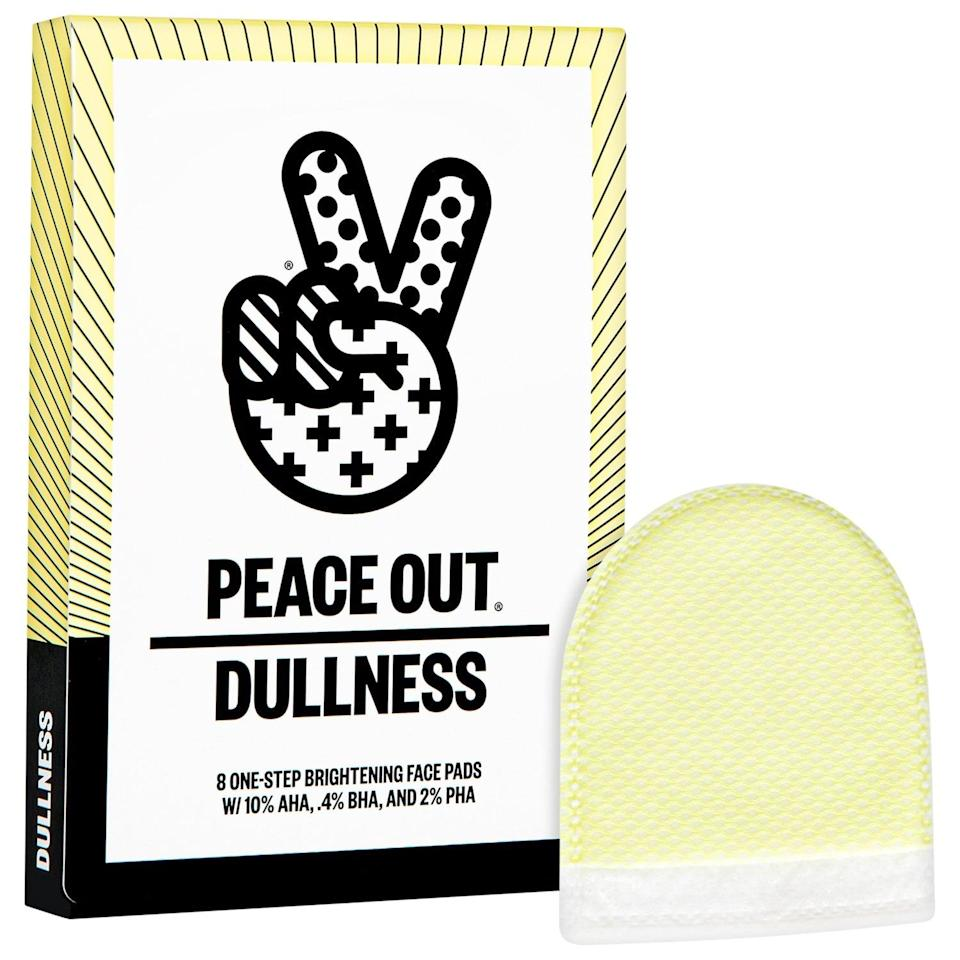 """<p>If you feel like doing some exfoliating, these <a href=""""https://www.popsugar.com/buy/Peace-Out-AHA-BHA-PHA-Brightening-Peel-Pads-569466?p_name=Peace%20Out%20AHA%20%2B%20BHA%20%2B%20PHA%20Brightening%20Peel%20Pads&retailer=sephora.com&pid=569466&price=24&evar1=bella%3Aus&evar9=45633828&evar98=https%3A%2F%2Fwww.popsugar.com%2Fbeauty%2Fphoto-gallery%2F45633828%2Fimage%2F47431514%2FPeace-Out-AHA-BHA-PHA-Brightening-Peel-Pads&list1=sephora%2Cbeauty%20shopping%2Cbest%20of%202020%2Cskin%20care&prop13=mobile&pdata=1"""" class=""""link rapid-noclick-resp"""" rel=""""nofollow noopener"""" target=""""_blank"""" data-ylk=""""slk:Peace Out AHA + BHA + PHA Brightening Peel Pads"""">Peace Out AHA + BHA + PHA Brightening Peel Pads</a> ($24) couldn't be easier to use. Plus, they really work!</p>"""