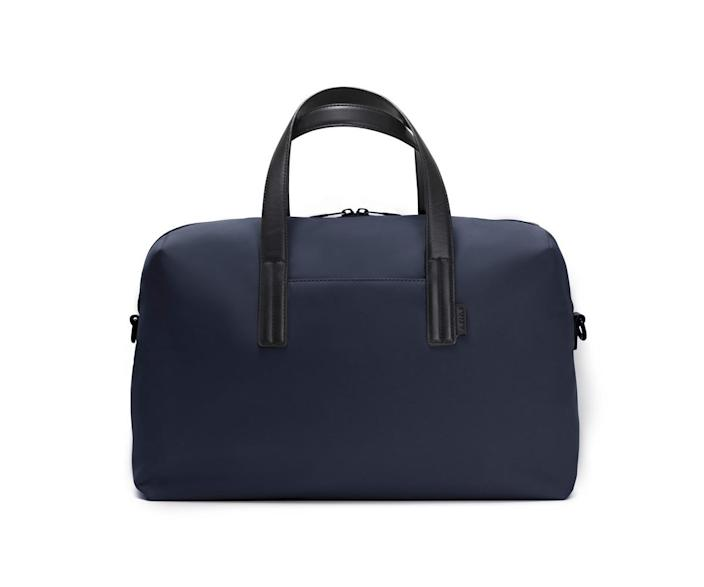 """<h3><strong><a href=""""https://www.awaytravel.com/travel-bags/everywhere-bag/navy-nylon"""" rel=""""nofollow noopener"""" target=""""_blank"""" data-ylk=""""slk:Away The Everywhere Bag"""" class=""""link rapid-noclick-resp"""">Away The Everywhere Bag</a></strong></h3><br>This even tighter take on the roomy duffle is perfect for a strict and stylish one-night stay."""