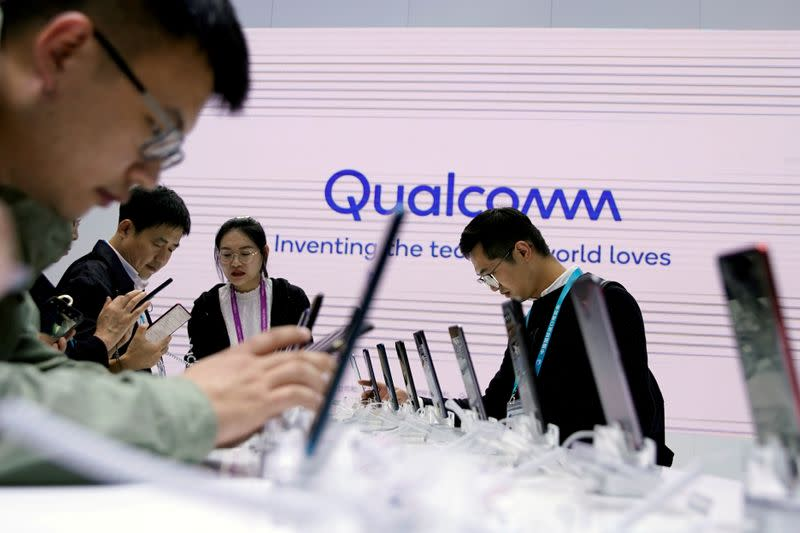 FILE PHOTO: A Qualcomm sign is seen at the second China International Import Expo (CIIE) in Shanghai