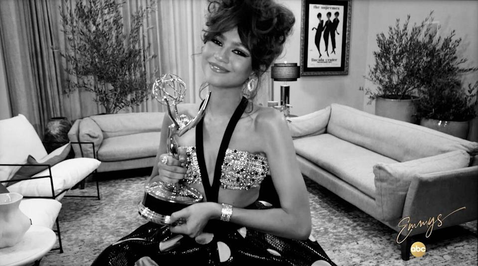 <p>Zendaya accepted her Emmy award for Outstanding Lead Actress in custom Armani Privé and Bulgari jewels. </p>