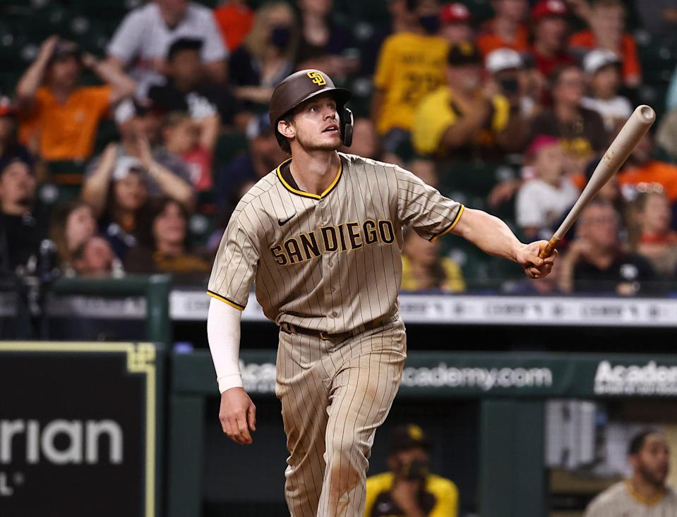 Wil Myers watches his three-run home run clear the fence in the 12th inning of the Padres' 11-8 victory over Houston on Saturday night.