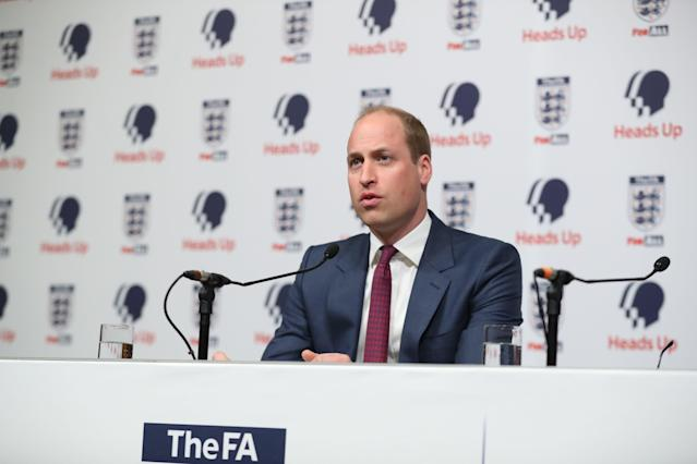 The Duke of Cambridge at the launch of Heads Up at Wembley Stadium. [Photo: Getty]