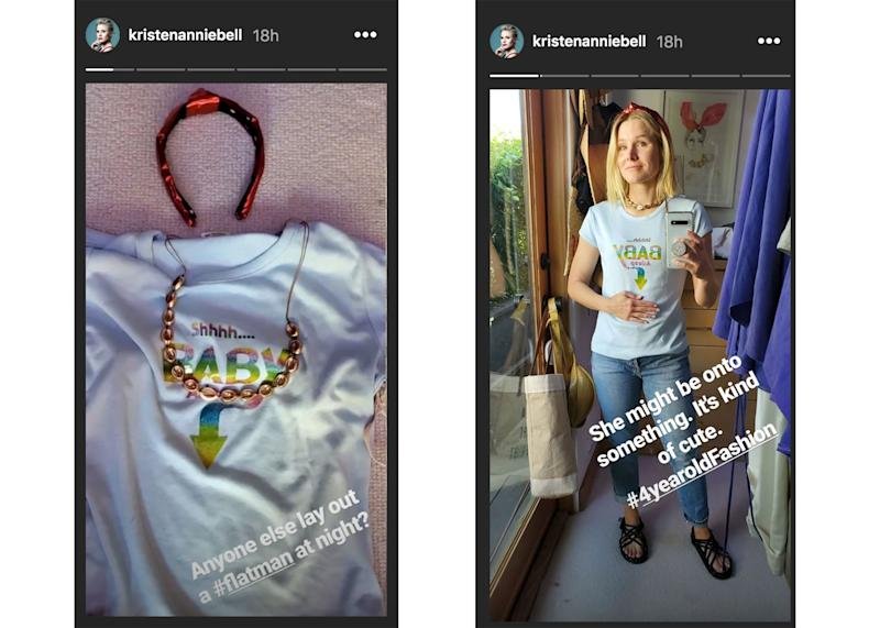 Kristen Bell explains her daughter chose her clothes in Instagram story