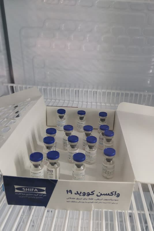 Vials of vaccinations against the coronavirus disease (COVID-19) are pictured in Tehran