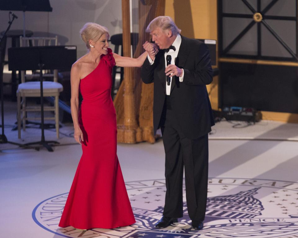 """Donald Trump (pictured with Kellyanne Conway at a 2017 pre-inaugural event) has called her spouse the """"husband from hell."""" (Photo: Chris Kleponis/Pool via Bloomberg)"""