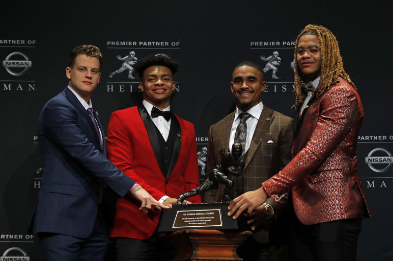 The college football playoffs will not lack star power. All four finalists of the Heisman Trophy from this season will take part in one of the two games on Saturday. (Adam Hunger / Getty Images)