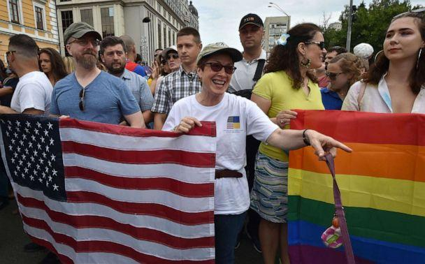 PHOTO: U.S. Ambassador to Ukraine Marie Yovanovitch, center, takes part in the gay pride march in central Kyiv, Ukraine, June 17, 2018. (AFP via Getty Images, FILE)